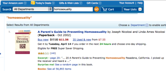 Amazon listing on Preventing Homosexuality